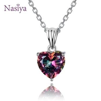 5760e6a163b8 Encantos 16x8 MM corazón Multicolor colgante collares de mujer de moda  colgantes con cadena de plata 925 de joyería de Navidad regalos