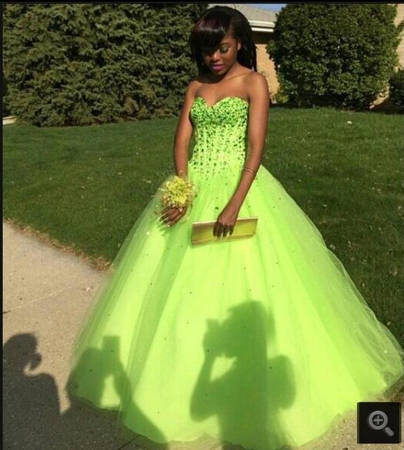 Neue ballkleid schatz ausschnitt perlen lime green prom dresses ...