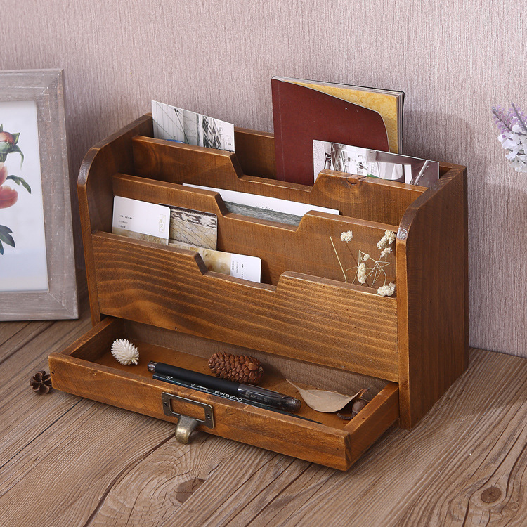 Creative Old Wooden Desk Home Office Storage Box Desktop Filing Document Sundries Storage Box