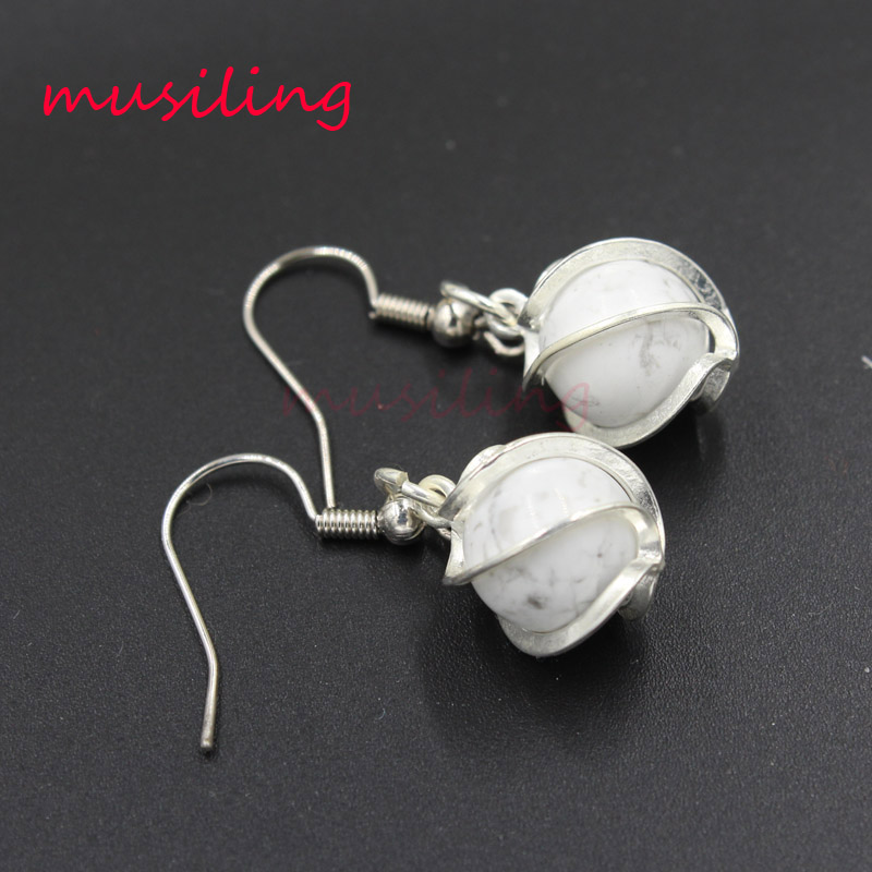 musiling 10mm Ball Beads Dangle Earrings Natural Stone Crystal Quartz Charms Fashion Jewelry for Women in Drop Earrings from Jewelry Accessories