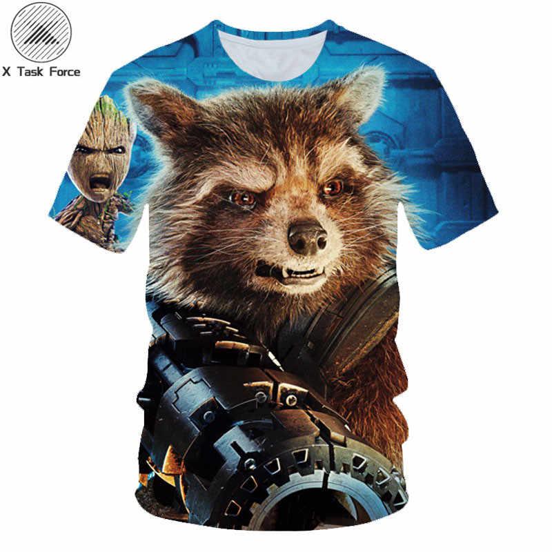 Divertido 3D Rocket mapache camiseta guardianes de la galaxia camisetas película Casual camiseta hombres bonitos vengadores Funky Tops X Fuerza de Tarea