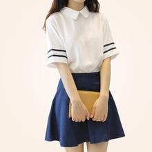 Short Sleeves Japanese School Uniform For Girls Navy Sailor Uniform Blue Skirt Uniformes Japonais Korean Costumes For Girl U008