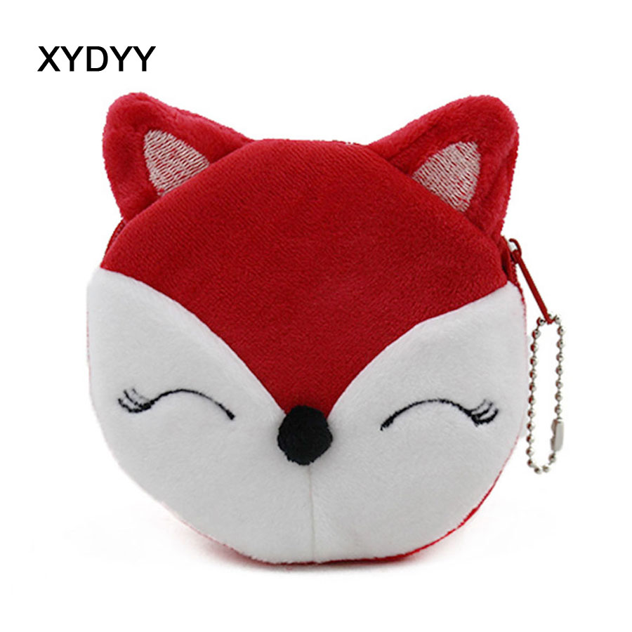 XYDYY Cute Fox Women Children Girls Cotton Coin Purses Holders Zipper Money Bag Pouch Kids Small Wallets Coin Bank Case DHJ012