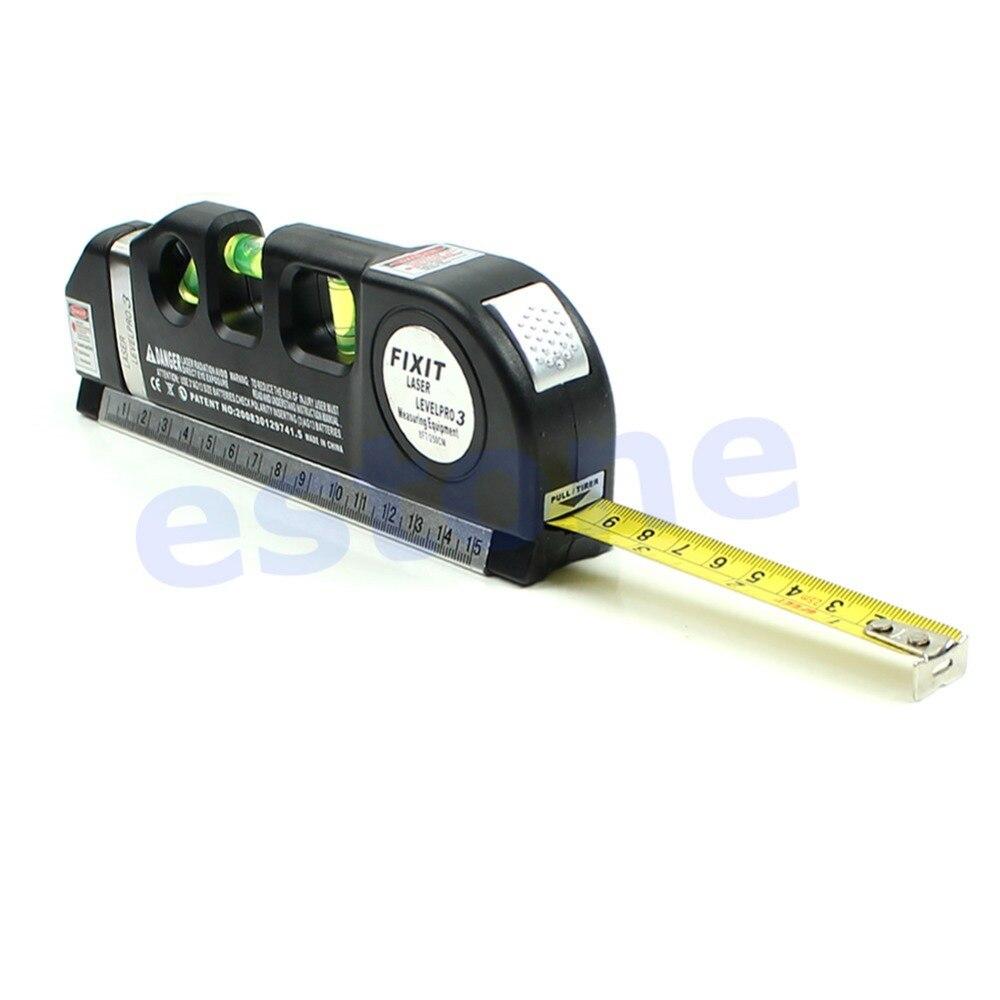 OOTDTY Multipurpose Level Laser Horizon Vertical Measure Tape Aligner Bubbles Ruler 8FT