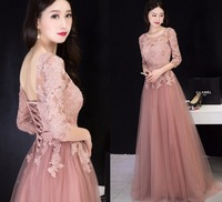 2019 Graceful O neck Half Sleeves Lace Dresses Maxi Party Dress Vestidos Pink Long Backless Prom Evening Gonws Formal Dress