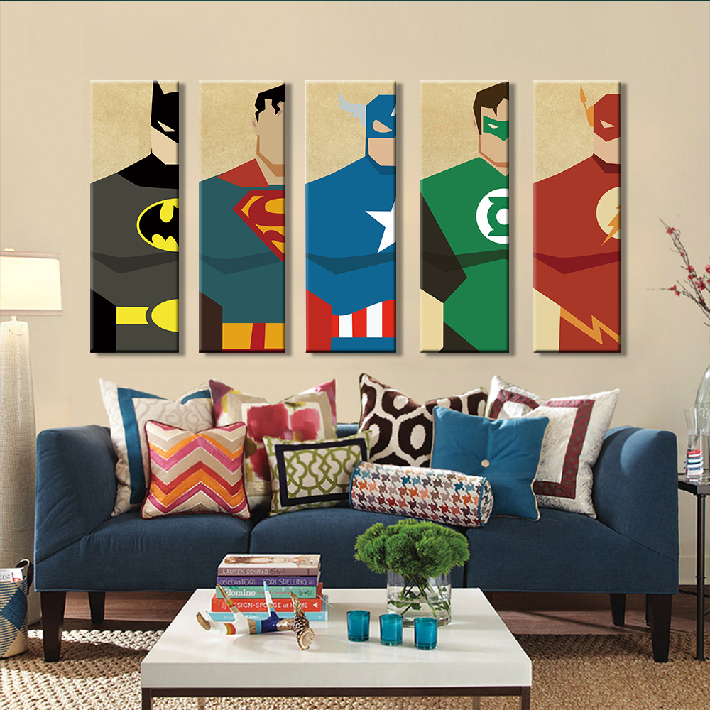 Superman Kanvas Lukisan 5 Pieces Superhero Modern Home Wall Decor Canvas Art HD Cetak Gambar Dinding Untuk Kamar Tidur Anak Dibingkai