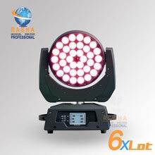 6X LOTE Alta Calidad 36 unids * 18 W 6in1 RGBAW + UV Zoom LED Cabeza Móvil Wash Con Touch pantalla LCD Diplay, DMX de entrada y Salida, Powercon 110-240 V