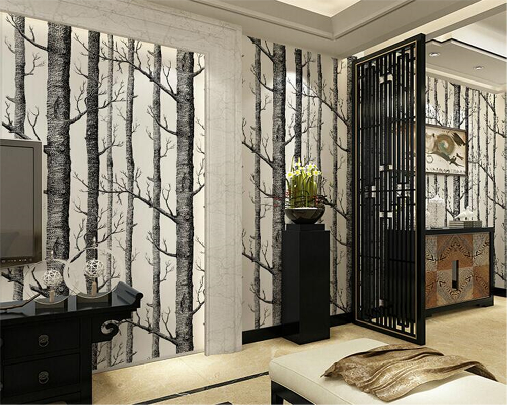 beibehang Abstract black and white branches non-woven wallpaper tree trunk tree birch forest background wall papel de parede beibehang abstract black and white branches non woven wallpaper tree trunk tree birch forest background wall papel de parede