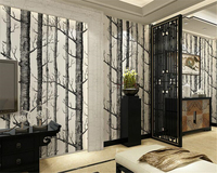 beibehang Abstract black and white branches non woven wallpaper tree trunk tree birch forest background wall papel de parede