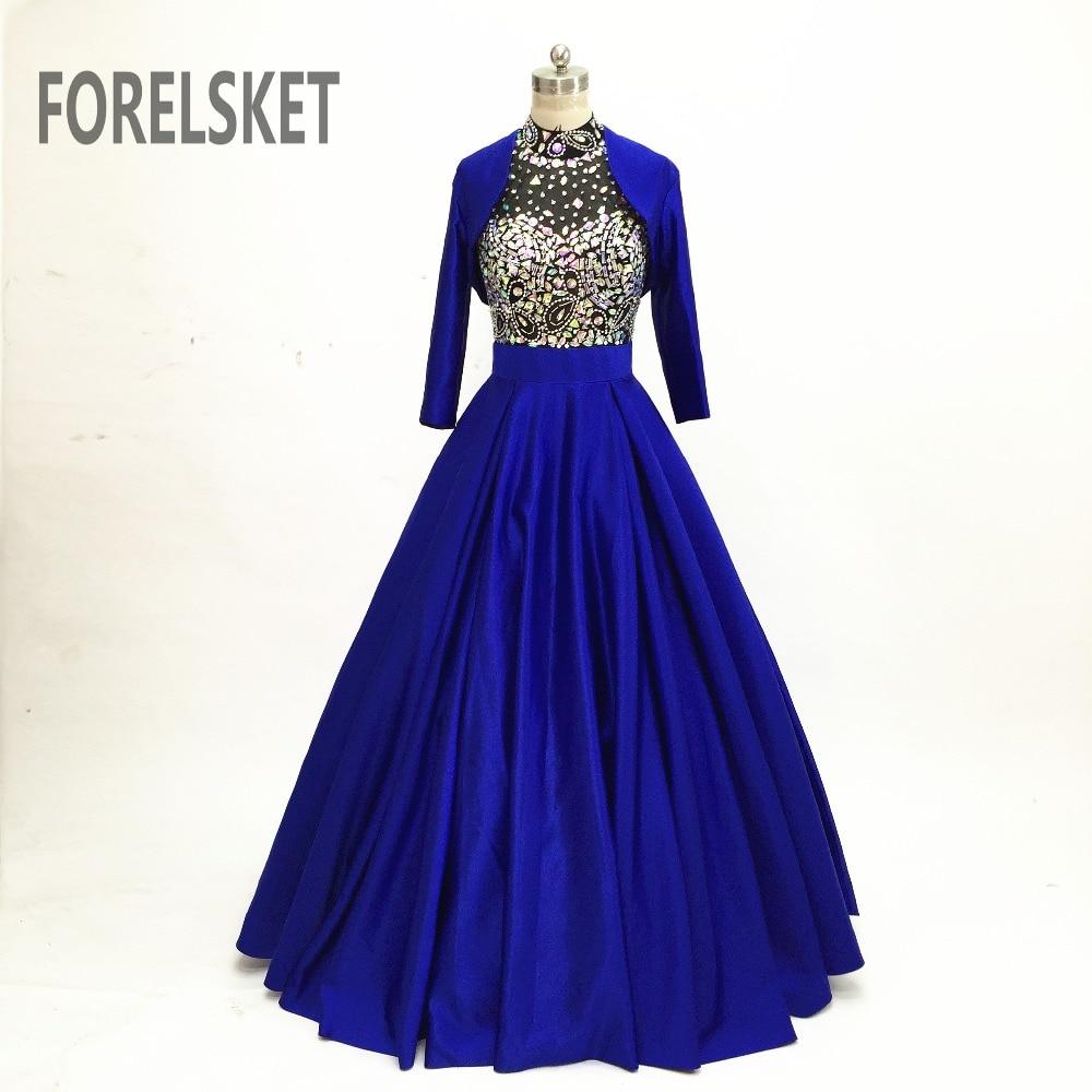 Sequined Blue Satin Prom Dresses Long Sleeve 2020 Celebration Halter Crystal Beading Formal Evening Party Dress Vestido De Noche