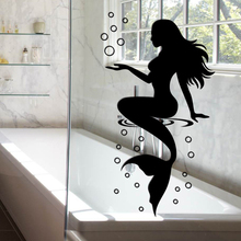 Mermaid PVC wall Stickers for Home Decoration Bathroom Glass Wallpaper Removable Waterproof Environmental Protection Wallpaper