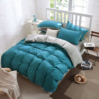 U H Pillowcase Preferential Cotton Pure Color 4pcs Bedding Set King Queen Size Bed Line Bedclothes