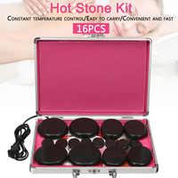 16pcs/set Hot Stone Massage Set Heater Box Relieve Stress Back Pain Health Care Acupressure Lava Basalt Stones for Healthcare
