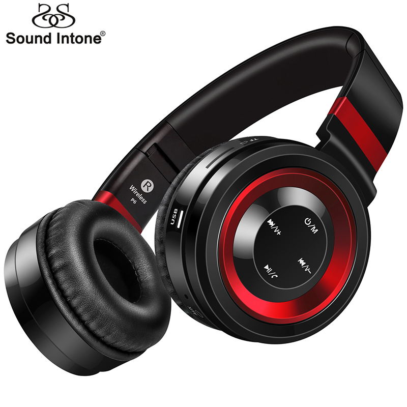 Sound Intone P6 Bluetooth Headphone With Mic Wireless Headphones Support TF Card FM Radio Bass Headset For iPhone Xiaomi PC Gift ks 508 mp3 player stereo headset headphones w tf card slot fm black