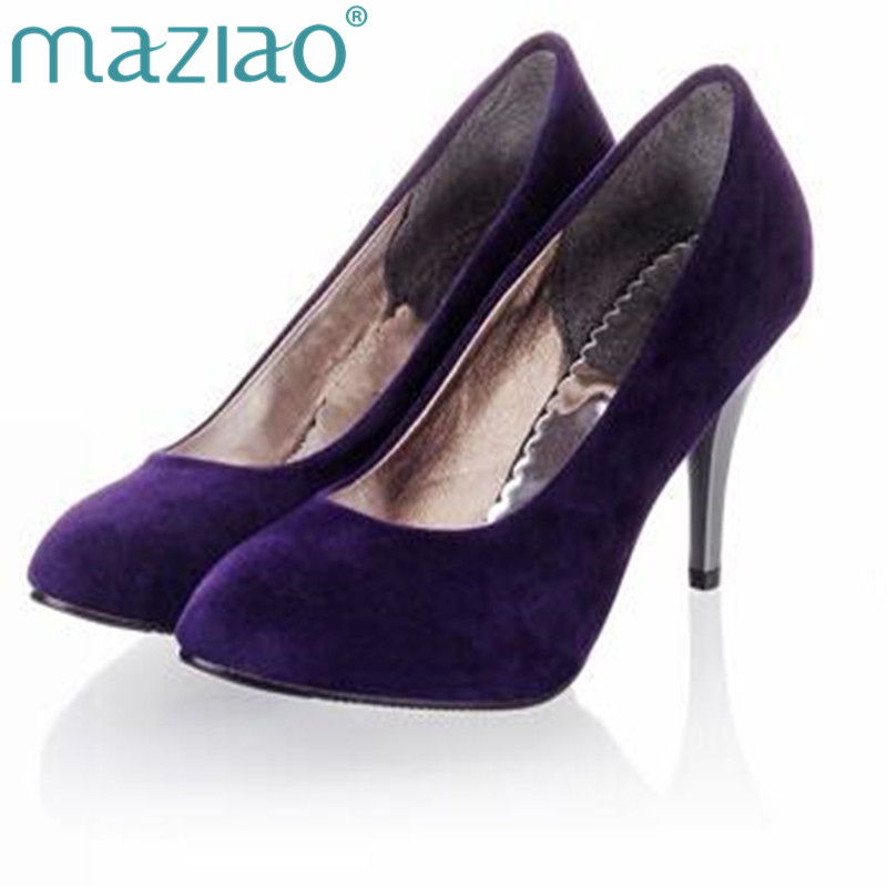 цена MAZIAO Plus size 34-45 Spring summer Women shoes Pointed toe Spool heels Flock sandals Pumps Fashion Sexy Party Purple в интернет-магазинах