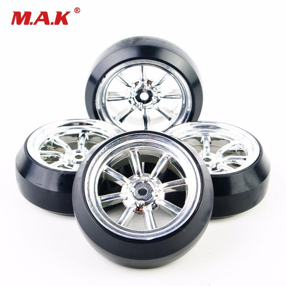 4Pcs/Set 1/10 Scale Durable 8 Spoke Silver Wheel Rim & Tyre Tires For HPI HSP Racing RC Drift Car  Model Part Accessory