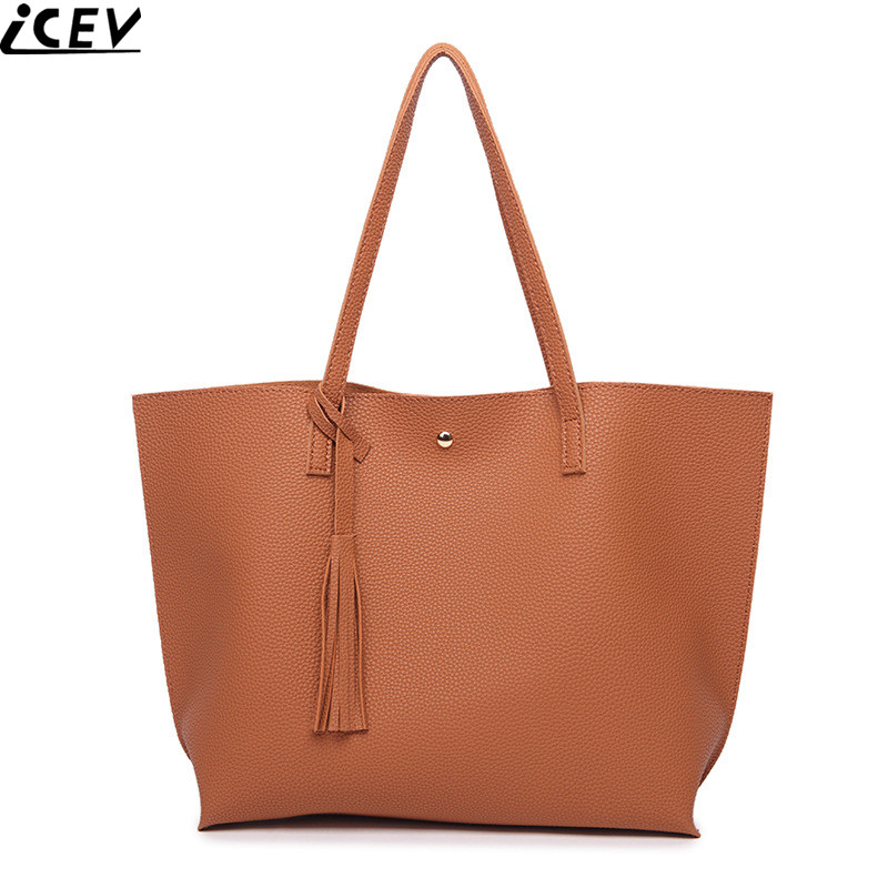 ICEV new top handle bag solid soft pu leather big casual tote bags handbags women famous brands large capacity shopping hand bag