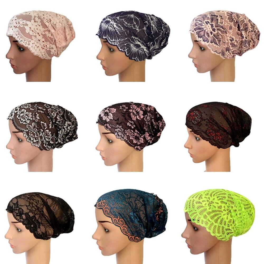 Muslim Women Lace Hat Islamic Inner Caps Headwear Underscarf Headwear Wrap   Beanies     Skullies   Head Wrap Ramadan Turban Cap New