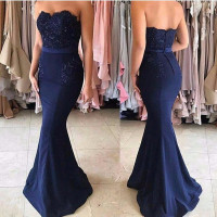 Katristsis d Navy Blue Lace Appliques Off the Shoulder Mermaid Bridesmaid Dresses Long Vestido De Festa Maid Of Honor Dress