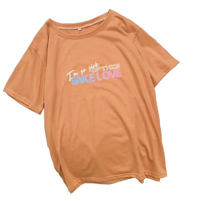 dcc32ec2002 ... Casual Harajuku camisa Streetwear Tee camisa Mujer Tops. Cheap Kpop  falsa carta de amor verano T camisa mujeres Camiseta de manga corta de moda