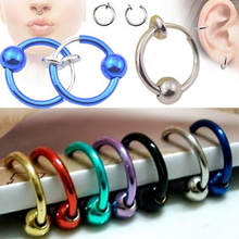 2 Pieces Colorful Fake Nose Ring Lip Ear Clip On