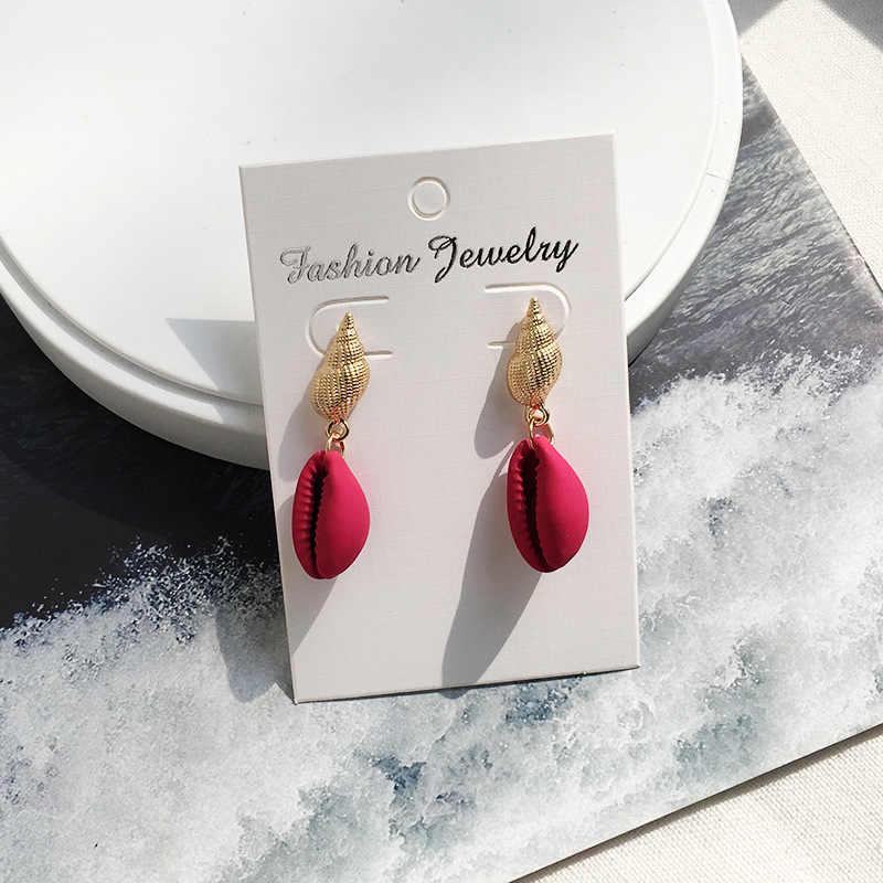 Exknl drop Shell Summer Dangle Earrings for women Vintage Conch earrings Boho Beach earrings trendy fashion jewelry New 2019