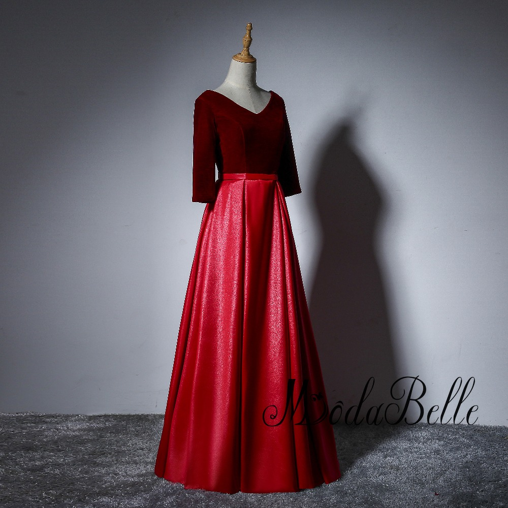 Modabelle Simple Wine Red Evening Dresses Half Sleeve Contrast Color robe  de bal longue Beautiful Velour Shiping Free Prom Dress ... b5791732681e