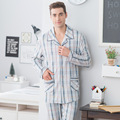 Men 's pajamas long - sleeved cotton suit grid leisure home service loose XL