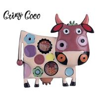 Cring Coco Cute Pink Cow Brooch Jewelry Accessories Alloy Enamel Metal Girls Woman Brooches for Women Pins Pin Trinket New