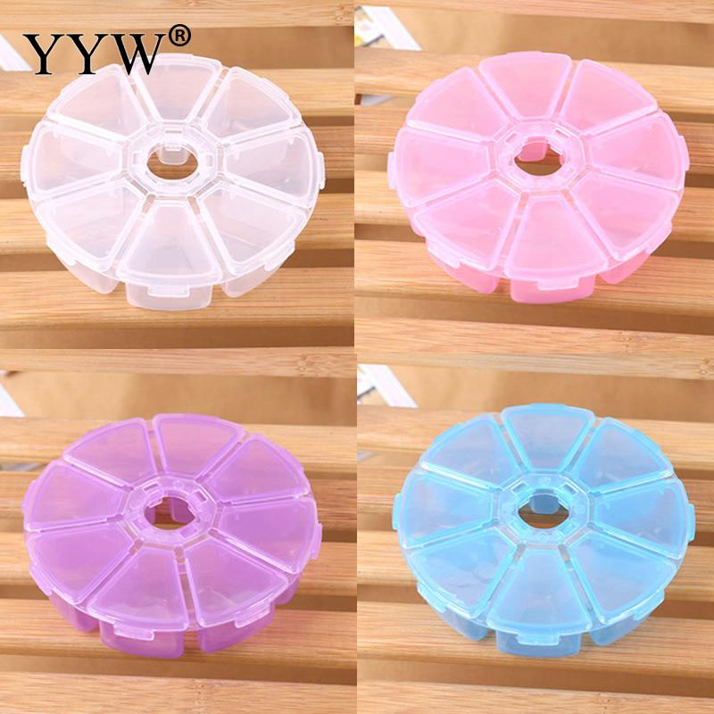 Boxes Mini 8 Grids Rhinestone Gems Plastic Box Plastic Flower Round Storage Box Case Jewelry Bead Clear Organizer 107x27mm