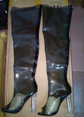 Neue Transparent Spitz PVC Oberschenkel Hohe Stiefel Glas
