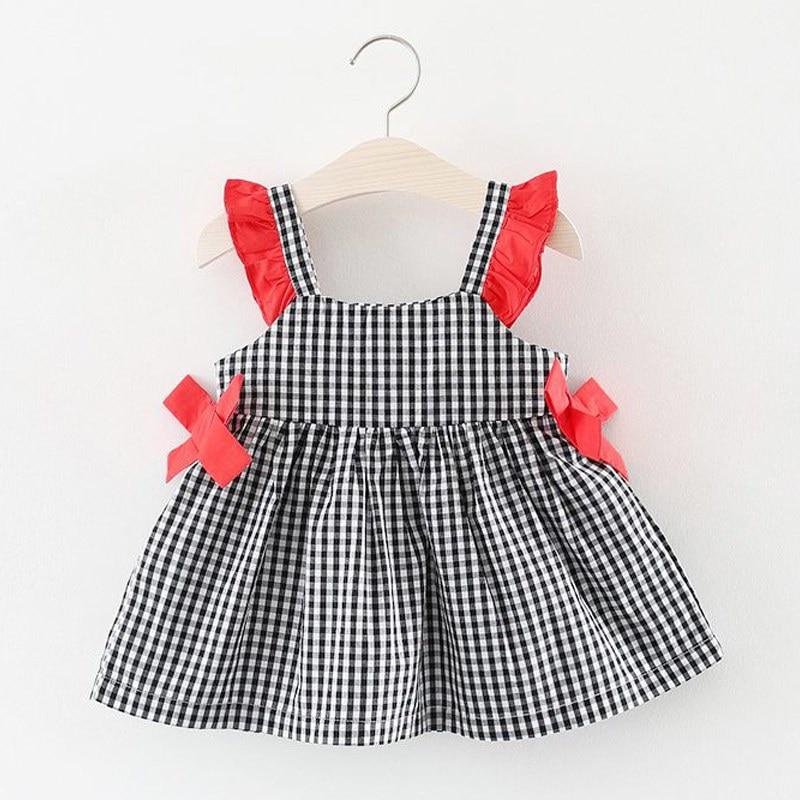c93cb1cc89a910 Nieuwe stijl baby meisje geruite jurk effen kleur taille boog ...