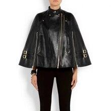 Vintage Shawl Collar Cloak Leatherr Jacket Cape Golden Zipper Womens Rivet Jacket