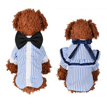 Pet Cat Clothes Cute T Shirt for Cats Small Dogs Puppy Kitten Princess Costume Summer Couples with Bow