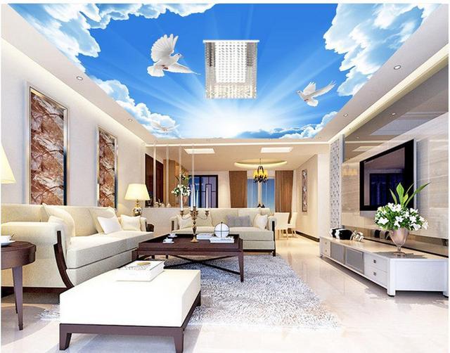 3d papier peint salon ciel bleu nuage colombe plafond style papier peint personnalisé peintures murales de