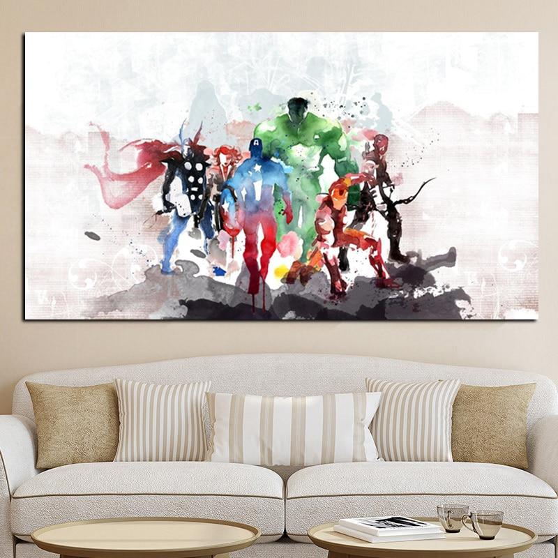 Akvarell szuperhős Modern vászon festmény minimalista skandináv film poszter nyomtatás fal kép gyerek szoba északi dekoráció  t