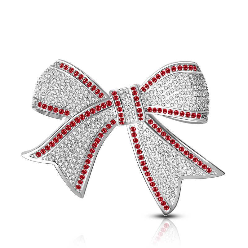 Luxury Red Rhinestone Wedding Bow Knot Brooch Pin Dress Sash Pins