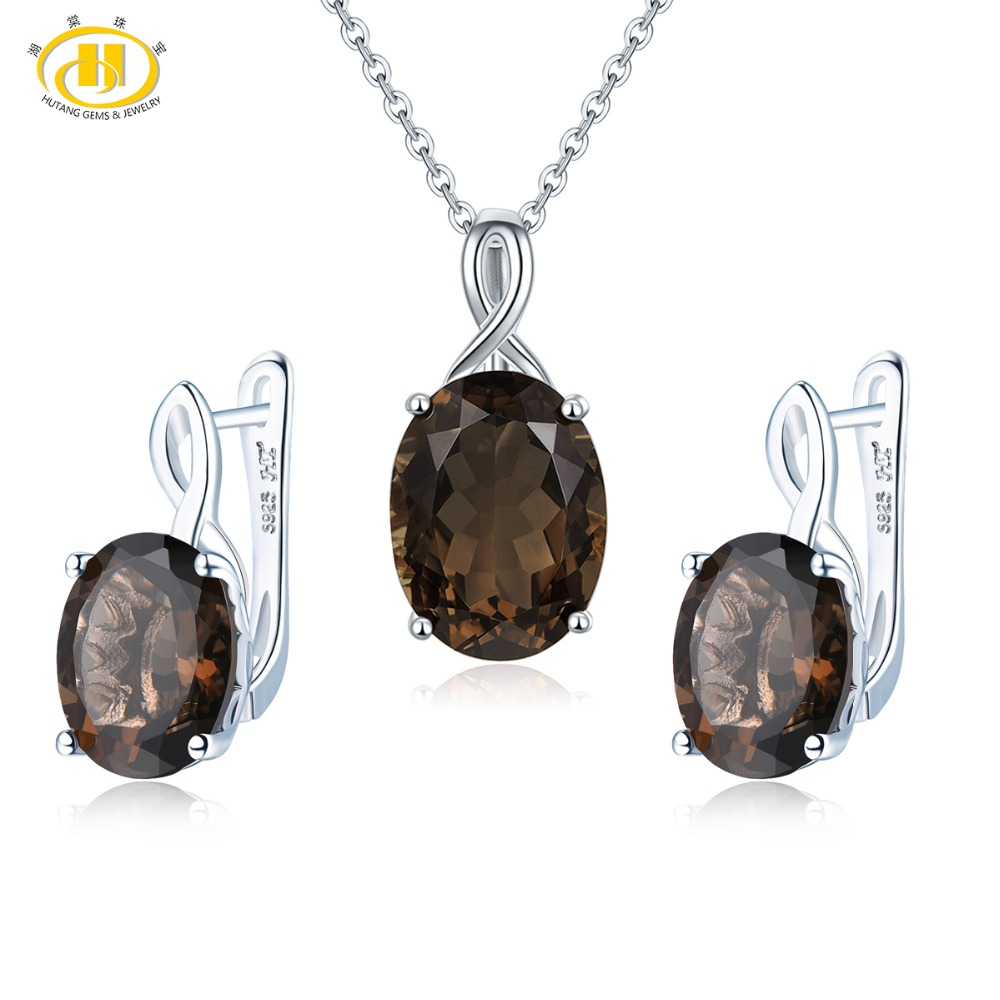 Hutang 18.1ct conjunto de joyas de cuarzo ahumado Natural pendientes colgantes 925 joyas de piedras preciosas finas de plata para el mejor regalo de las mujeres nuevo 2019-in Conjuntos de joyería from Joyería y accesorios    1