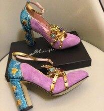 Macytino Luxury Handmade Purple Crown Pumps Bling Foil High Heels Women Ankle Strap Shoes Automn 2018