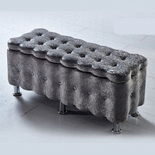 Suede Household Sofa Stool Lengthen Multipurpose Change Shoe Bench Wooden Bedroom Dressing Stool Practical Storage Stool chair solid wood simple style dining stool household dressing and makeup stool multifunction wooden square stool change shoe bench
