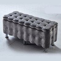 Suede Household Sofa Stool Lengthen Multipurpose Change Shoe Bench Wooden Bedroom Dressing Stool Stable Practical Storage Stool