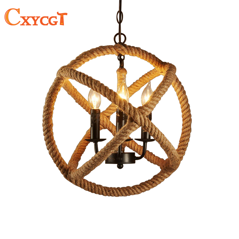 American Art Vintage Minimalist Living Room Pendant Lamps Rattan Cafe Bar Restaurant Rope E14 Industrial Pendant Lights Fixture loft style vintage pendant lamp iron industrial retro pendant lamps restaurant bar counter hanging chandeliers cafe room