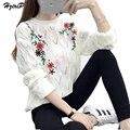 Большой Размер Цветок Вышивка Отверстие Вязаный Свитер женщин 2017 Весна Длинным Рукавом Мода Повседневная Элегантный virgin killer свитер