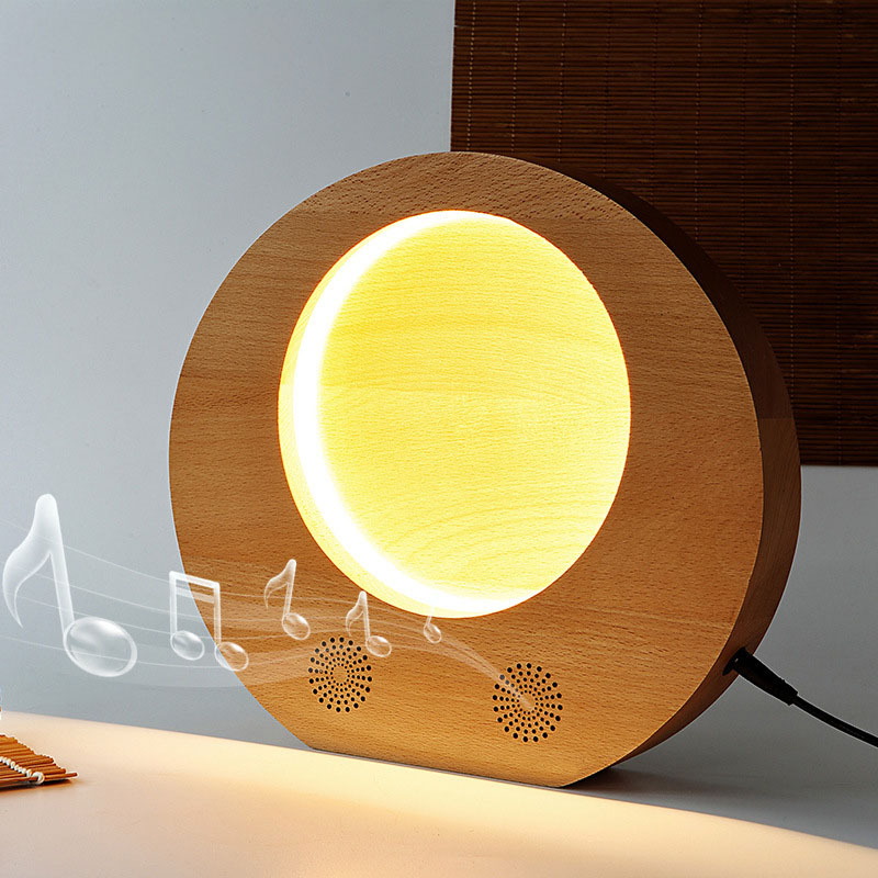 Rechargea Wooden Moon Light LED Moon Night Light Bluetooth Speaker Music Player for Midautumn --M25