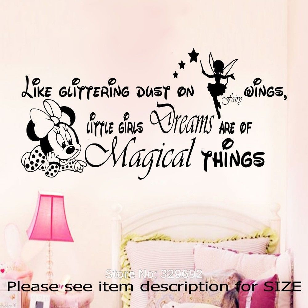 Cute Minnie Mouse With Custom Vinyl Wall Sticker For Baby Kids Bedroom Sweet Decor Art Wlal Mural