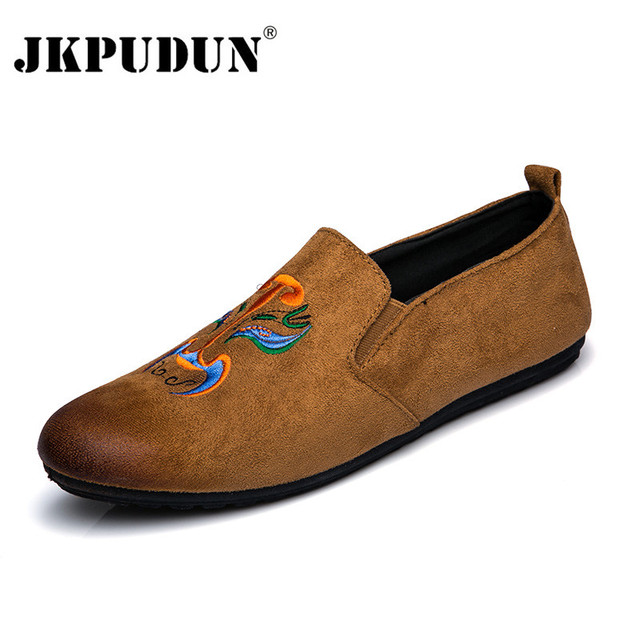 80891c59429 JKPUDUN Fashion Suede Men Shoes Soft Leather Flat Shoes Casual Luxury Brand  Designer Slip On Moccasins Men Loafers Hight Quality