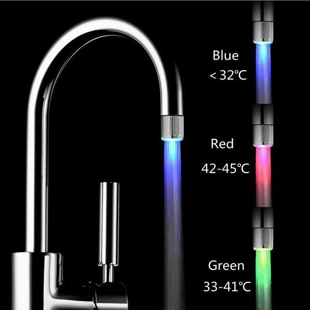Mini Colorful Led Faucet Light Temperature Control Three Colors Lights  Faucet Monochrome Water Flow Power Faucet Amazing Pictures