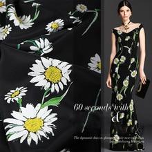 2017 hot selling Paris style Daisy heavy fashion print crepe dress DIY silk