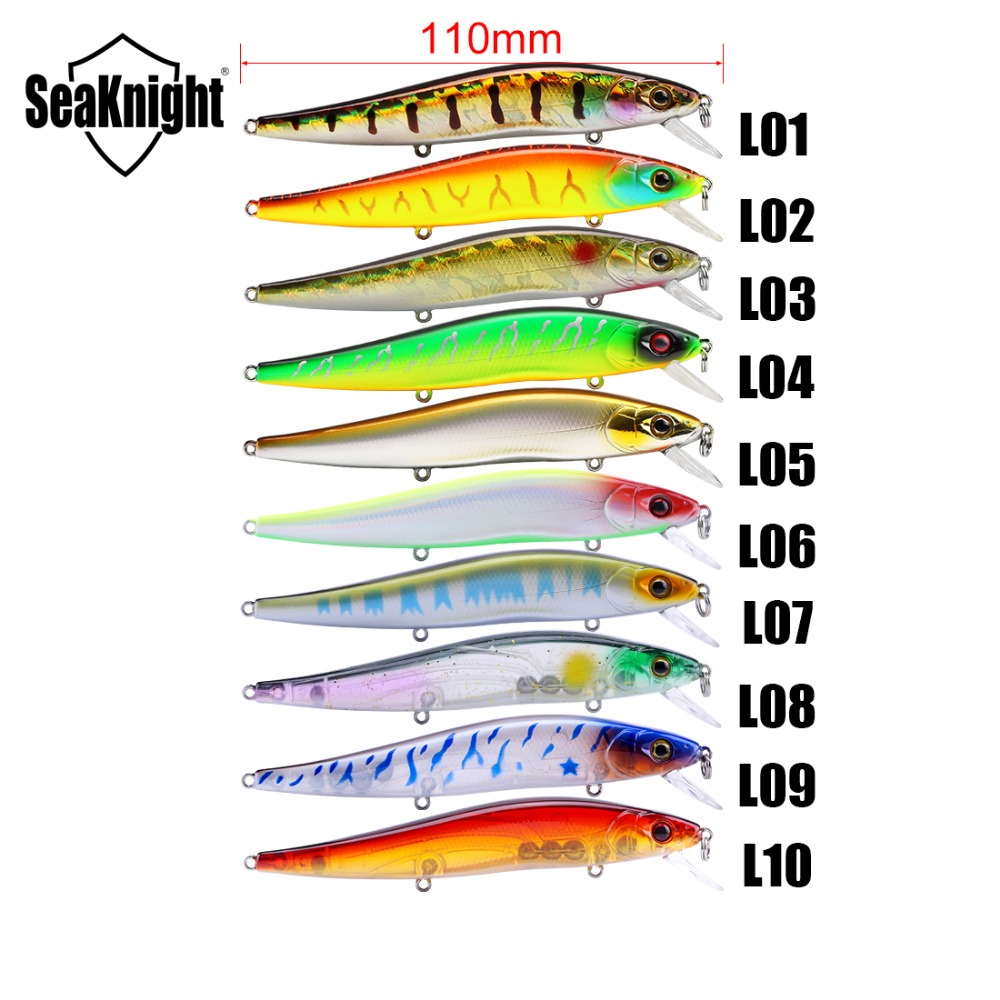 Seaknight SK020 Minnow Fishing Lure 1PC 14g 110mm 0-1M Artificial Bait Stronger Bicyclic  Hooks Retail Lure PVC Box Packing