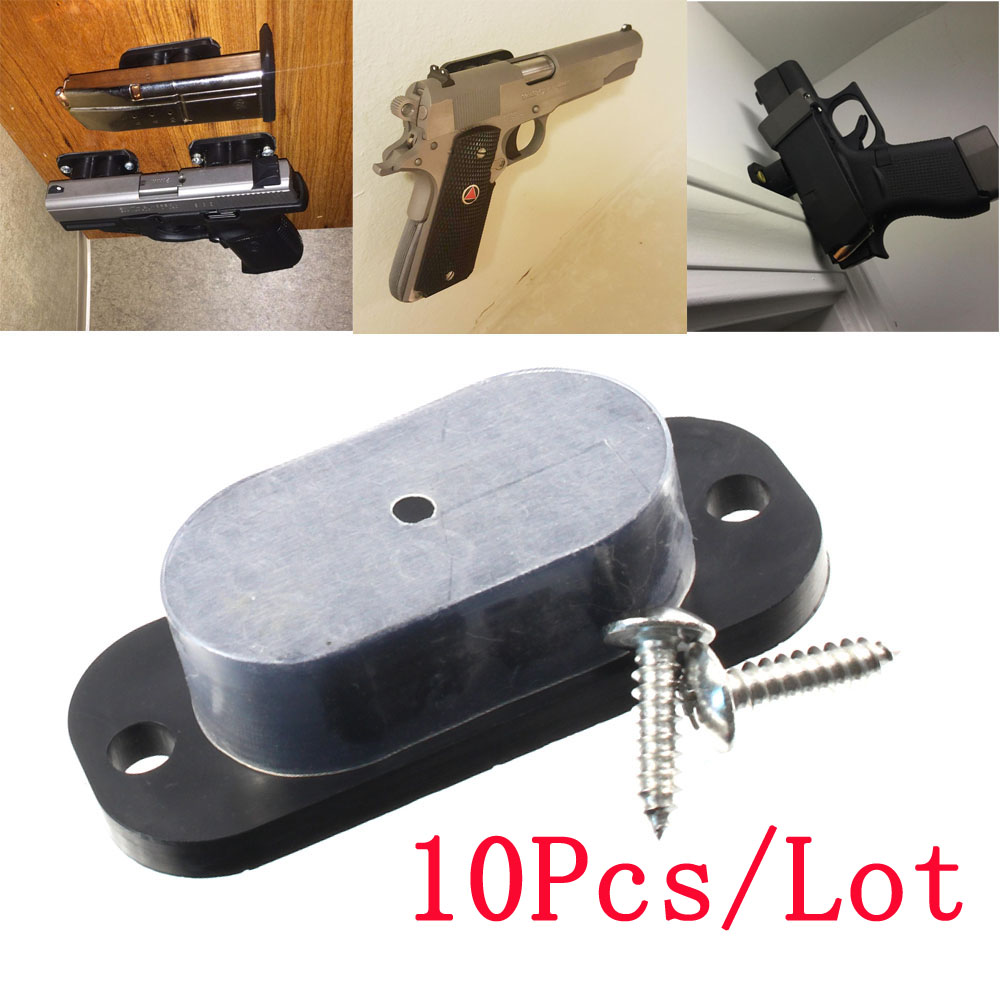 Concealed Magnetic Pistol Holder Holster 25LB Rating Multiple Gun Magnet For Car Bedside Under Desk Black